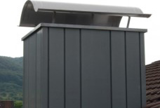 Chimney cladding using panels in different widths