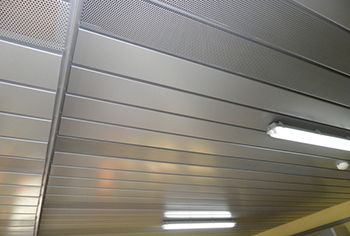Metal ceiling of office building seminar room