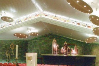 Reconstruction after fire, church roof in Dangel panel system design