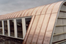 Metal roof special construction rounded