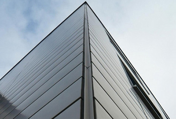 Metal facade with Dangel metal panels as well as substructure and insulation