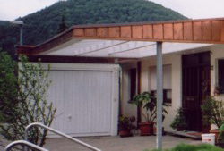 Copper natural, carport with panel cover in copper