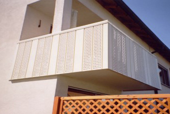 Aluminum balcony cladding, partially perforated