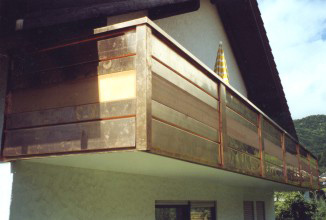 Balcony cladding with copper