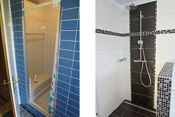 Renovation shower before and after