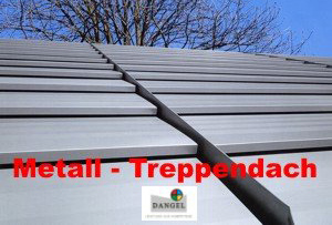 Metal stepped roof made from pre-weathered Titan-zinc