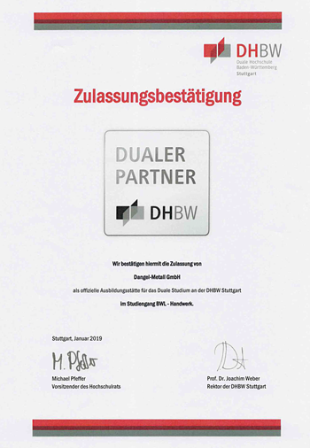 Admission confirmation as a training center for the dual study at the DHBW Stuttgart